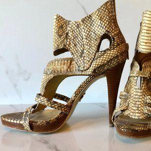 bebe crocodile print heels
